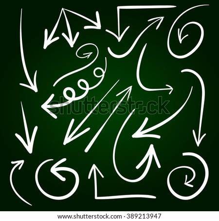 Set of hand drawn arrows. VECTOR. White arrows, chalk drawings. Green chalkboard background  - stock vector