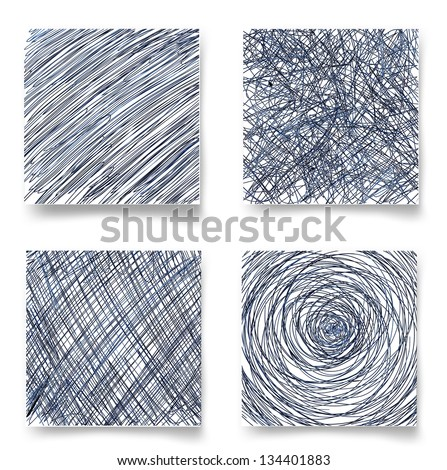 Set of hand-drawn backgrounds. Vector illustration - stock vector