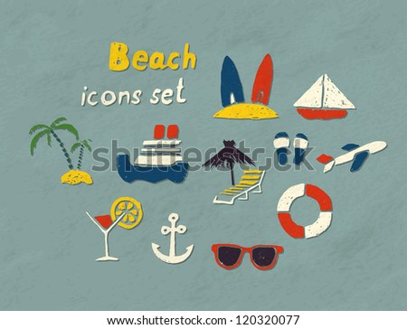 Set of hand drawn beach icons. Vector image. - stock vector