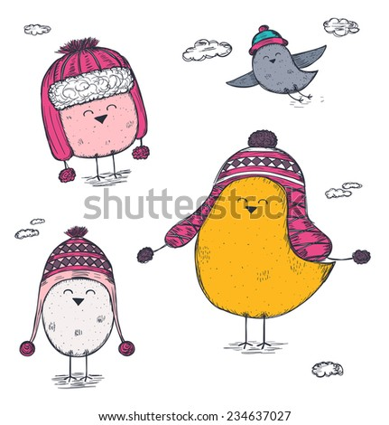 set of hand drawn birds wearing a winter hats - stock vector