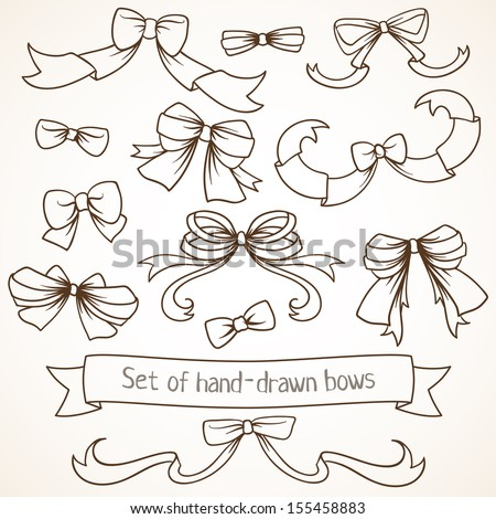Set of hand drawn bows. - stock vector