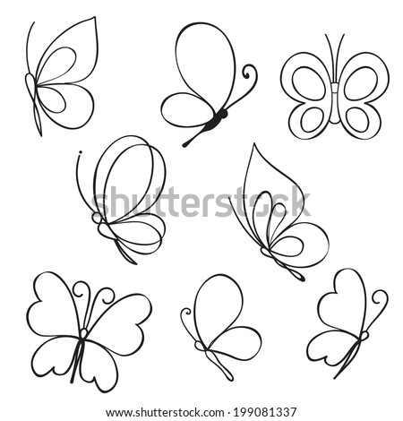 Set of hand drawn butterflies - stock vector
