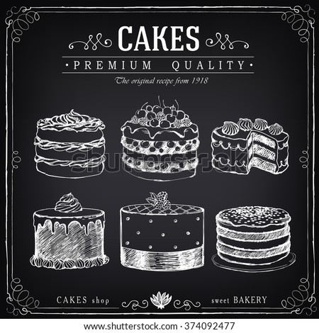 Set of hand-drawn cakes. Bakery sweet shop. Vector icons of cakes. Freehand drawing with imitation of chalk sketch - stock vector