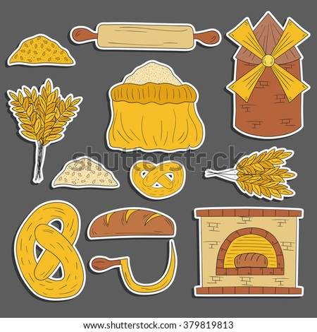Set of hand drawn cartoon bread harvest objects: loaf, flour, furnace, mill. Bread production. Rural work concept - stock vector