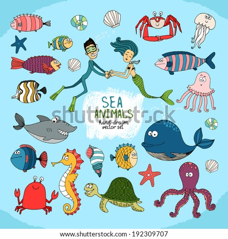 Set of hand-drawn cartoon sea life with a diver  mermaid  assorted tropical fish  shark  whale  octopus  jellyfish  crab  turtle  lobster  starfish and shells and central text - Sea Animals - stock vector