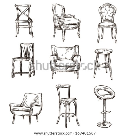Set of hand drawn chairs interior detail  - stock vector