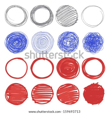 Set of hand drawn circles. Circular shape elements collection. Pencil, pen and felt sketch drawing technique. Vector illustration. - stock vector