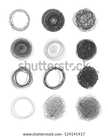 set of hand-drawn circles, elements for desicn, vector - stock vector
