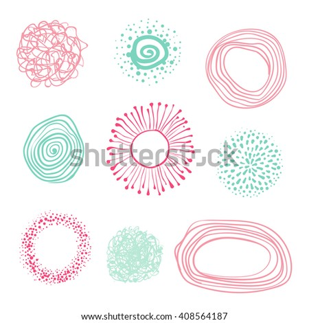 set of hand-drawn circles, elements for desicn, vector abstraction illustration. - stock vector