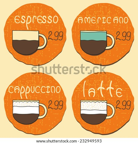 Set of hand drawn coffee types for price labels or logos on sites, cafes, shops - stock vector