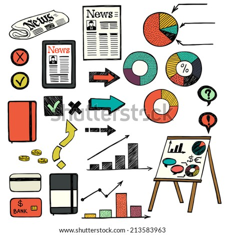 Set of hand drawn colorful doodle business icons isolated on white background. Business doodle infographic images. - stock vector