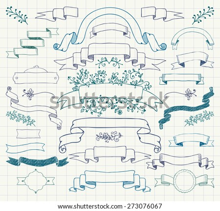 Set of Hand Drawn Colorful Doodle Design Elements. Decorative Floral Banners, Ribbons. Pen Drawing Vintage Vector Illustration. Notebook Paper Background Texture. - stock vector