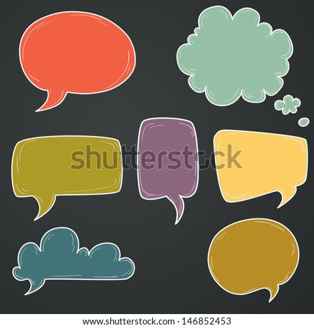 Set of hand drawn colorful speech and thought bubbles on chalkboard background. - stock vector