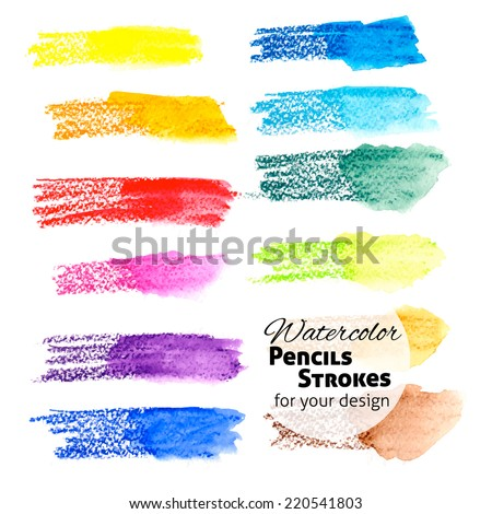 set of hand drawn colorful watercolor pencils strokes for your design. abstract background - stock vector