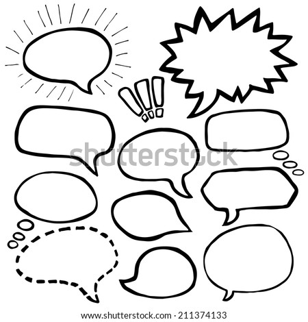 Set of Hand Drawn Comics Style Speech Bubbles - stock vector