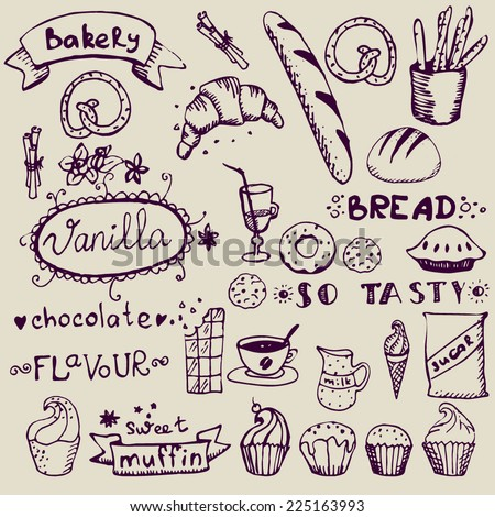 set of hand drawn confectionery and bakery doodles - stock vector