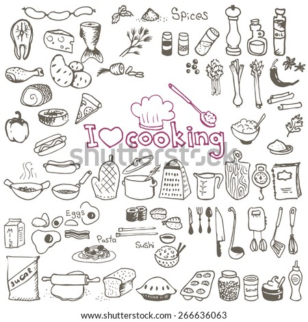 set of hand drawn cooking doodles on white background - stock vector
