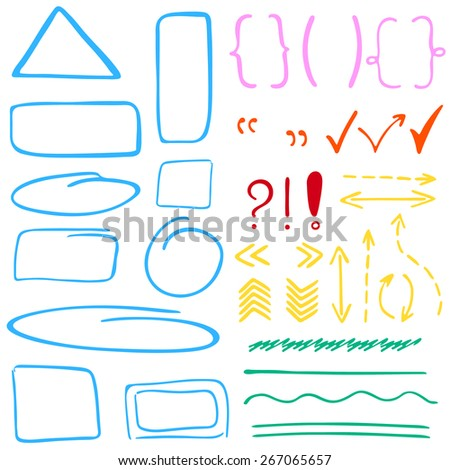 Set of hand drawn correction elements. Arrows, underlines, circles, rectangles, squares and ovals, question and exclamation marks and highlighting elements. Perfect for design. Vector illustration. - stock vector