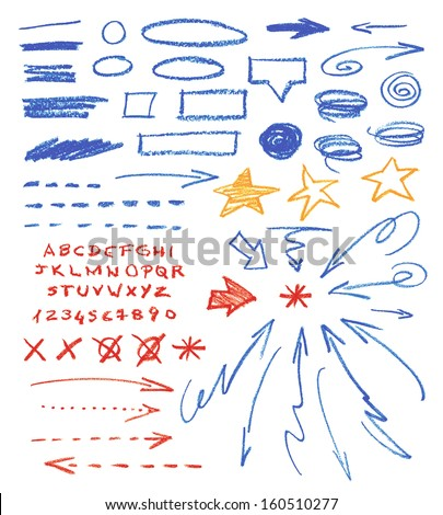 Set of hand drawn correction elements. Crayon technique. Alphabet, arrows, underlines, circles and stars. Signs isolated on white background. Vector illustration. - stock vector