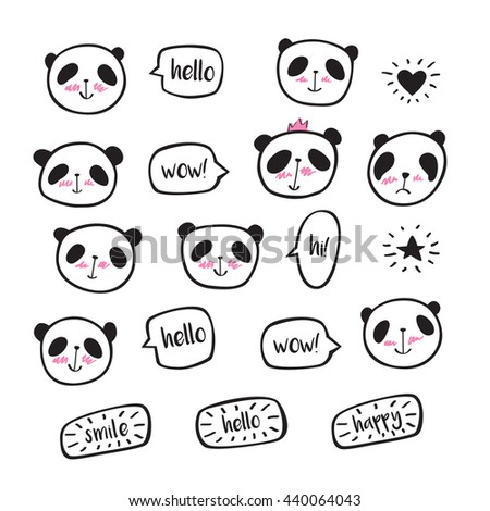 Set of hand drawn cute pandas with speech bubble. Doodles, sketch for your design. Vector illustration - stock vector