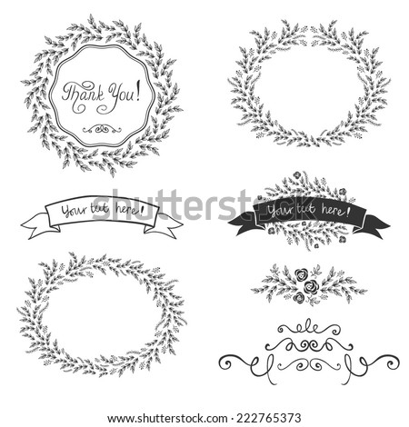 Set of hand drawn decorative design ribbons and floral frames, vector - stock vector