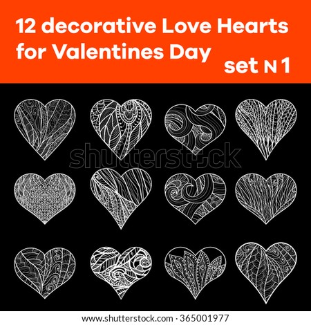 Set 1 of 12 hand drawn  decorative Love Heart. Designer elements. Good for wedding or Valentines Day. Vector illustration. Outline. Black and white. - stock vector
