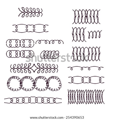 Set of hand drawn decorative scrolls, elements for frames and borders, design elements. Vector illustration. - stock vector