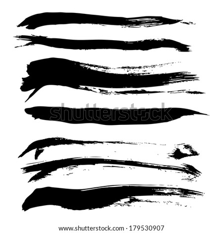 Set of hand-drawn direct smear thick paint  - stock vector