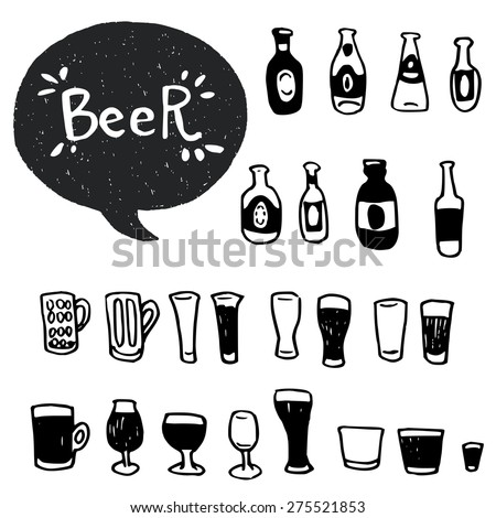 Set of hand drawn doodle beer bottles and glasses. Cartoon icons isolated on white background and Beer lettering in a speech bubble. - stock vector