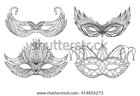 Set of hand-drawn doodle face holiday masks. Festival Mardi Gras, masquerade. - stock vector