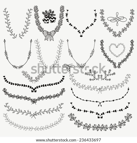 Set of Hand-Drawn Doodle Floral Decorative Brackets, Wreaths, Laurels. Design Elements. Vector Illustration. - stock vector