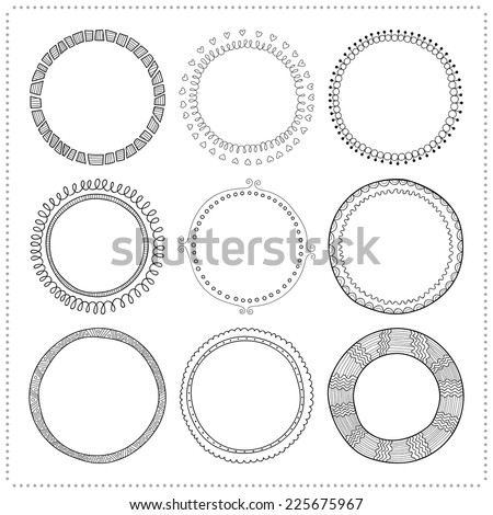 Set of hand drawn doodle frames  - stock vector