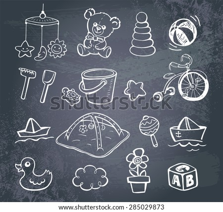 Set of hand-drawn doodle icons baby toys and accessories on a blackboard.. - stock vector