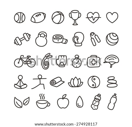 Set of hand drawn doodle style health and fitness icons. - stock vector