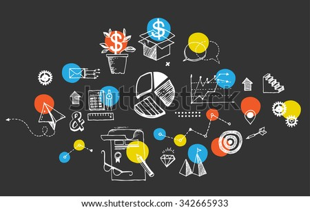 Set of hand drawn doodles with symbols of business and office life. Including pie chart, steps, pencil drawings, math symbols. - stock vector