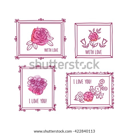 Set of hand drawn elements for birthday, wedding, easter, Mother's Day, Valentine's Day. Vintage frames and spring flowers on the pink watercolor background. Doodles, sketch for your design. Vector. - stock vector