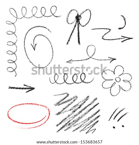 Set of hand drawn elements (pastel).The color is easily changeable by one click.  - stock vector