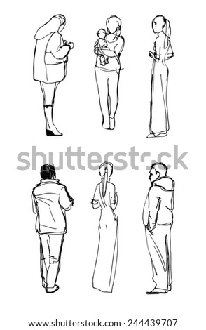 set of hand drawn figures of men and women - stock vector