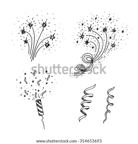 Set of hand drawn  fireworks,party popper and serpentine. - stock vector