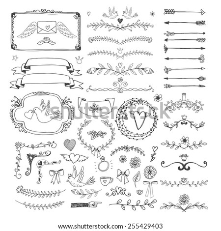 Set of hand drawn floral page elements. Swirls, ribbons, frames, arrows, dividers, banners and curls for decoration and scenery. Vector illustration - stock vector