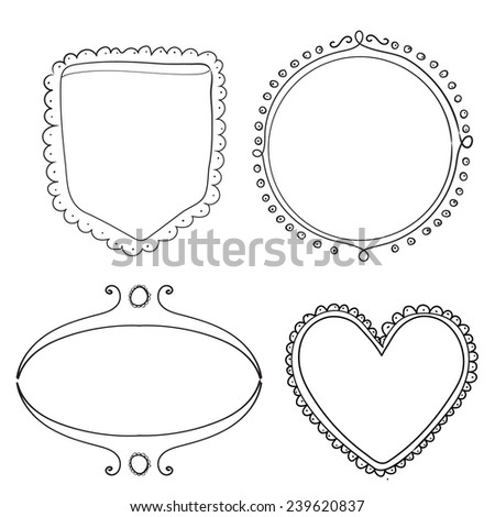 Set of hand drawn frame and dividers. Doodle vector design elements isolated on white background.  - stock vector