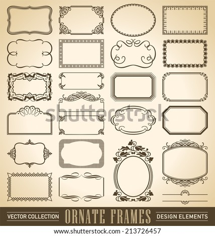 set of 24 hand-drawn frames and panels in various styles, vector (eps8) - stock vector