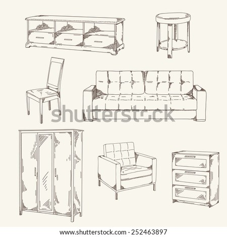 Set of hand drawn furniture: sofa, table, chair, wardrobe, commode, shelf for TV, armchair - stock vector