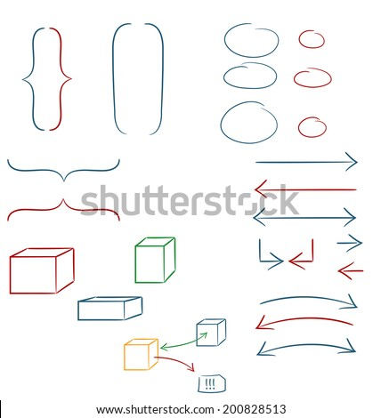 Set of hand drawn graphic signs - stock vector
