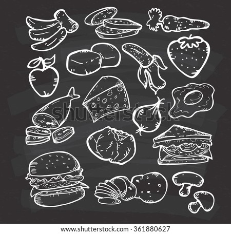 Set of hand drawn healthy food on chalkboard background - stock vector