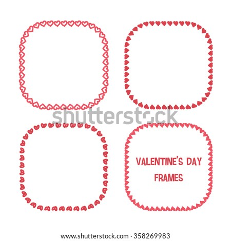 Set of hand drawn heart frames isolated on white background. Valentines Day doodle frames.  - stock vector