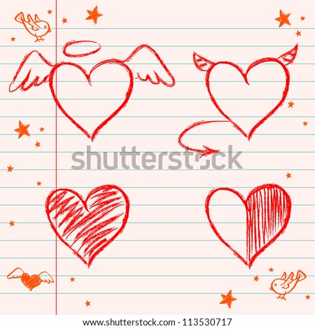 Set of hand drawn hearts on lined notebook paper background. Vector illustration. - stock vector