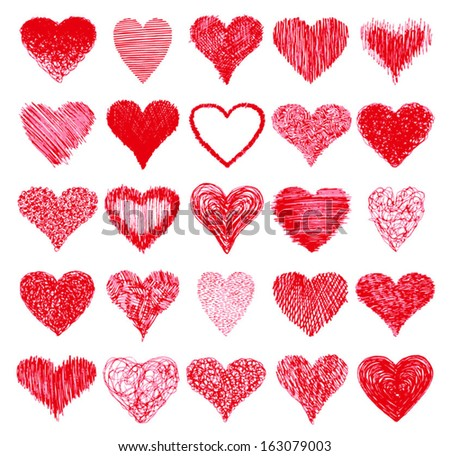 Set of hand drawn hearts. Vector grunge style icons collection. - stock vector