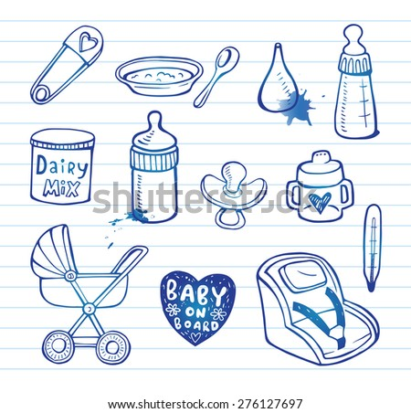 Set of hand-drawn icons baby  food and accessories. - stock vector