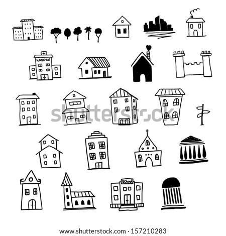 Set of hand drawn icons of houses - stock vector